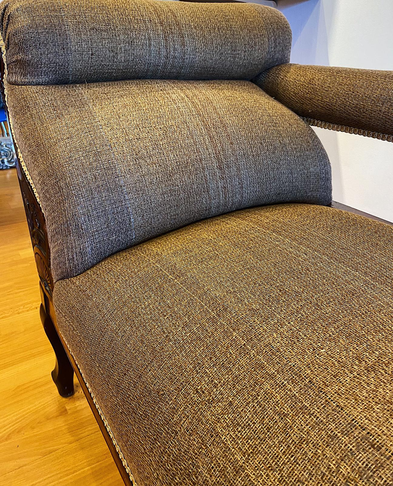 Bespoke upholstery fabric with reels of thread